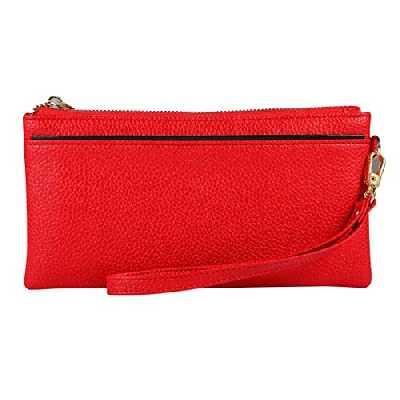 Paquet MCY Vintage Téléphone Sacs Femmes Portefeuilles Femme bourse cuir Marque Rétro dames de femme Zipper Wallet Card d'embrayage (Noir) (Couleur : Red)