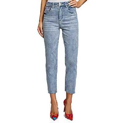 oodji Ultra Femme Jean Mom Fit Taille Haute, Bleu, 29W / 32L