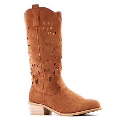 Angkorly - Chaussure Mode Botte Bottine Santiags - Cowboy Souple Folk/Ethnique Femme perforé Finition surpiqûres Coutures Effet Bois Talon Bloc 4.5 CM - Camel - AB69 T 36