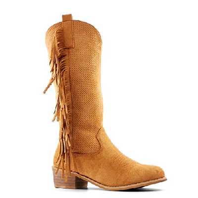 Angkorly - Chaussure Mode Botte Bottine Santiags - Cowboy Souple Folk/Ethnique Femme Frange perforé Finition surpiqûres Coutures Talon Bloc 4 CM - Camel - AB71 T 38