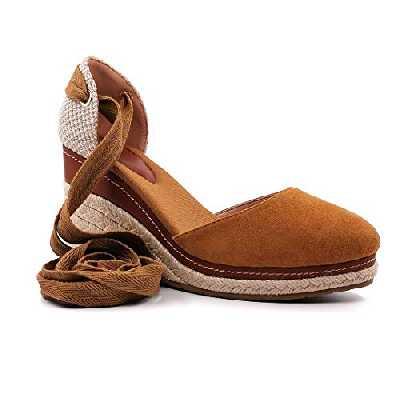 Angkorly - Chaussure Mode Sandale Espadrille Bohème Folk/Ethnique Romantique Femme Corde avec de la Paille Laçage Talon Compensé 10 CM - Camel - FL33 T 39