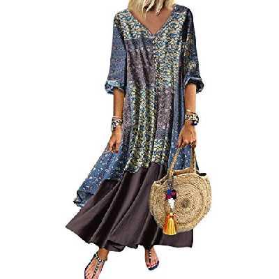 Yulinge Femmes Robe De Coton Et Lin des Manches Boheme Chic Ete Parti Longue Robes Grande Taille Longfloral1 5XL