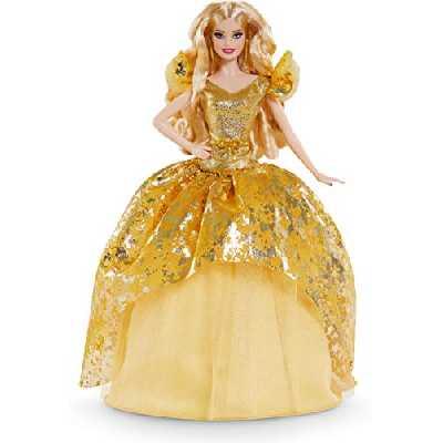 Barbie Signature poupée de collection Joyeux Noël en robe dorée, édition 2020, jouet collector, GHT54