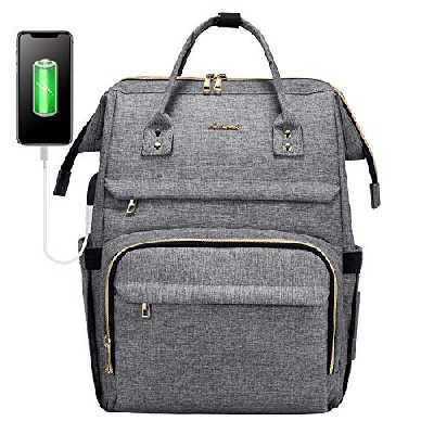 Sac à Dos Femme, LOVEVOOK Imperméable Sac a Dos PC Portable 15,6 Pouces, élégant Sac à Dos pour Ordinateur avec Port de Chargement USB, pour Collège Affaires Travail Gris