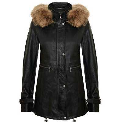 Infinity Leather Blouson en Cuir Chaud Noir pour Femme Parka à Capuche Détachable XL
