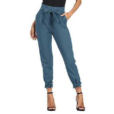 GRACE KARIN Pantalon Femme Casual Loose Trouser Cigarette élastique Ceinture Jogging Yoga Taille Haute Cyan M CL903-22