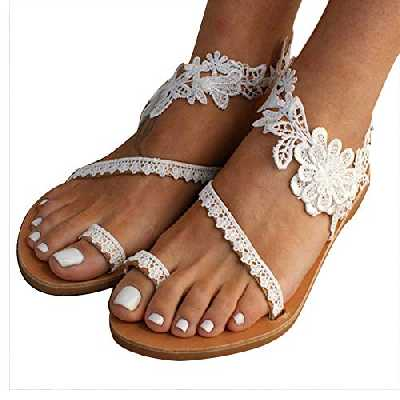 Godob Femmes Floral Slip on Toe Ring Sandales Plates Dentelle Sangle de Cheville Plage Chaussures d'été