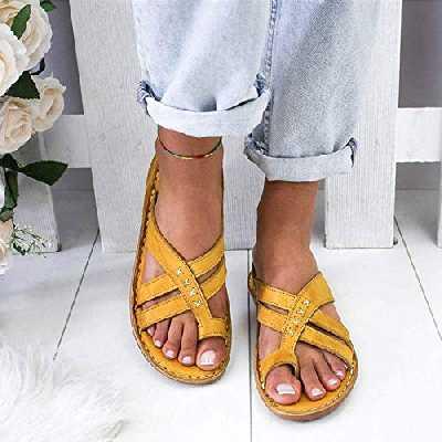 MIAOXIAO Sandales Femmes d'été Clip Toe antidérapant Respirant Sandales Beach décontractées Toe Ring Comfort antidérapantes Best-Walking,B,35