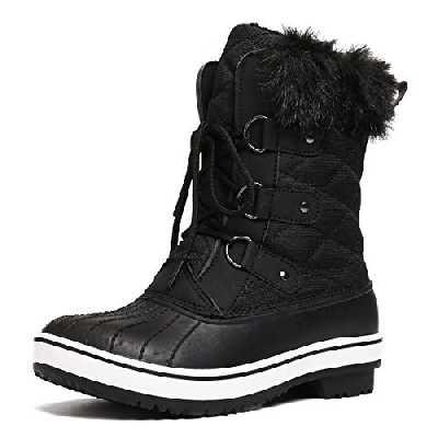 gracosy Bottes de Neige Imperméable Femme, Bottes Après Ski Fourrure Chaussures Hiver Bottines Pluie à Lacets Boots Fourrée Chaude pour Ville Randonnée Marche Noir1 43