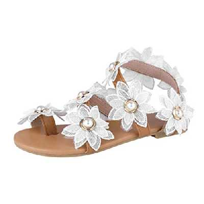 Sandales Femmes Mode Casual Floral Pearl Pearl Flat Toe Ring Chaussures de Plage (41,Blanc)