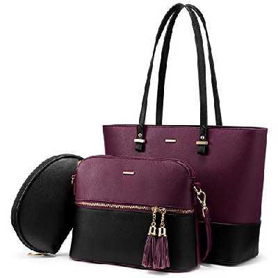 Sac a Main Femme Sac Bandouliere Sac élégant en PU Cuir Sacs Fourre-Tout Sacs Portés Main de 3 pièces (A-Noir violet)