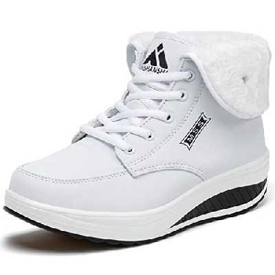 SAGUARO Femmes Boots Fourrées Hiver Antidérapant Bottines Femelle Imperméable Bottines Apres Ski Adulte Bottes Neige Femme Chaud, Blanc 42