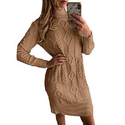 Aleumdr Robe Pull Femme Elégant Robe Pull Tricoté Col Haut Robe côtelé Robe Chaude pour l'Automne-Hiver,A Marron,L