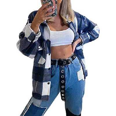 Tomwell Surchemise en Laine Femme Veste a Carreaux Chemise Décontracté Oversized Femme Blouse A Bleu M