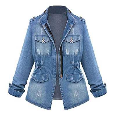 Bringbring Casual Femmes Dames Denim Oversize Veste en Jean avec chaîne Manteau de Poche blouser Top