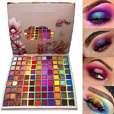 Palette de fard à paupières 99 couleurs, palette maquillage yeux Rechoo Rainbow Colors Fusion, palette de maquillage professionnelle à paillettes mate, fard à paupières longue durée