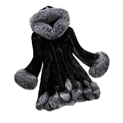 Femmes Hiver Fausse Fourrure en Cuir à Manches Longues Manteau Veste vêtements d'extérieur Long Pardessus Pull Tricot Chaud Vintage Impermeable mi-Long col