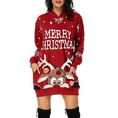 Robe Femme Hiver, Sweat avec Capuche Femme Sweatshirt Casual Pull Hoodie Impression De NoëL Sweat DéContracté Chic Automne Hiver Sweat-Capuche avec Poche Pullover(Rouge 3, S)