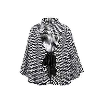 Femme Manteau Pied de Poule,Élégant Chaud Hiver Poncho Cape Mélange de Laine Veste Outwear avec Ceinture Mode Epais Manteau Cape Tops Grille Taille unique