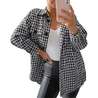 ORANDESIGNE Femme Veste à Carreaux Élégant Chemise Oversize en Laine Pied-de-Poule Manteau Court Chaud à Carreaux A Noir L