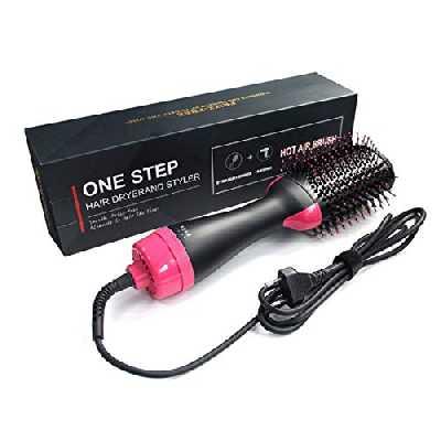 Sèche-cheveux - 5 en 1 - Brosse de coiffage - Sèche-cheveux et volumiseur - Brosse à air chaud - Lisseur négatif pour tous les types de cheveux pour homme et femme.