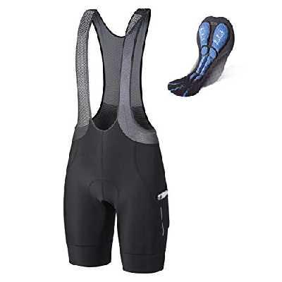 BALEAF Cuissard de cyclisme à bretelles pour homme en maille rembourrée 4D avec poches respirantes UPF50+ - noir - Taille M
