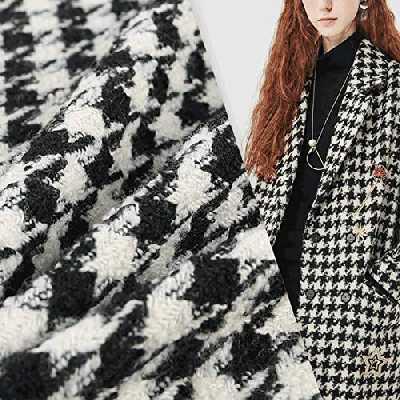 Tissu manteau en laine pied-de-poule vintage pour automne/hiver, matériau écossais traditionnel, manteau/costume/artisanat respirant confortable 59