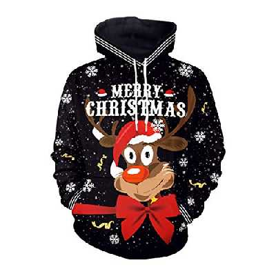 3D Pull Capuche Noel Rigolo Femme Ugly Christmas Hoodie Jumper Pull Père Noël Renne Homme Drole Pull de Noel Cerf Femmes Moches Pullover Moche Sweat a Capuche Noel Sweatshirt Couple Grande Taille M
