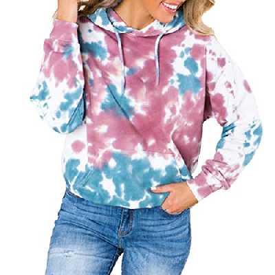 Femme Sweat à Capuche Manche Longue Aquarelle Imprimé Blouses Noel Femme Casual Tie Dye Tie Dye Drawstring Hoodies Elegante Ample Pullover Poche Kangourou Sweat Shirts S