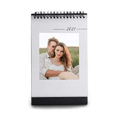 Jewelora Calendrier de bureau 2021 avec photos Calendrier 2021 sur pied personnalisé avec vos photos Calendriers de bureau 2021 Cadeaux parfaits pour le nouvel an 14.5 x 23cm