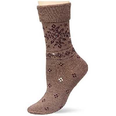 Tommy Hilfiger Folk Women's Boot Sock Chaussette Classique, Brown, 39 Taille Normale Femme