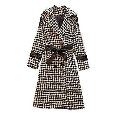 Katenyl Manteau pied-de-poule pour femmes élégant col cranté mode all-match mi-longueur coupe ajustée confortable veste chaude 4XL