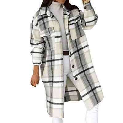 wenyujh Femme Veste Long Surchemise Carreaux Décontracté Oversized Manteau à Manches Longues pour Automne Hiver(Gris?2XL)