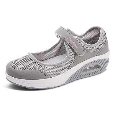 Sandales Femme Mailles Chaussures de Fitness Baskets Mode Compensées Mary Janes pour Femme Espadrilles Chaussures de Sport Eté EU38 A-Gris-2