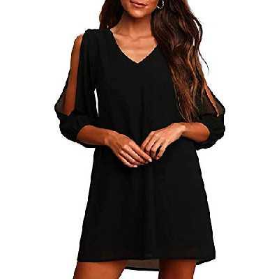 Brosloth Robe Trapèze en Mousseline Femme Casual Manches Longues Loose T-Shirts Tops Robe Noir S