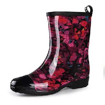 gracosy Bottes & Bottines de Pluie Femme Fille, Boots en Caouthchouc Imprimées Bottes Cheslea Chaussure de Ville Imperméable à Talons Plat Automne Printemps Rouge 37