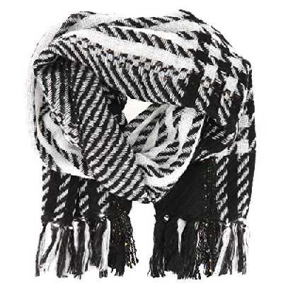 Grande Echarpe Femme motif Pied de Poule Noire et Blanche à Franges - Maxi Echarpe Plaid Oversize rectangulaire 170x56cm Chaude Epaisse - Châle Hiver XXL imprimé Vintage Original Pied de Coq