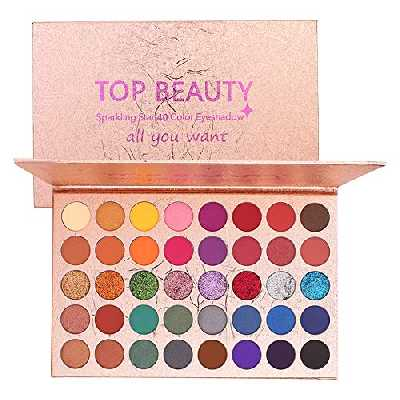 40 couleurs brillantes palette de fard à paupières poudre de fard à paupières Portable Shimmer Glitter Matte Eye Maquillage professionnel métallisé pigmenté Vegan Colorboard Rainbow Fard à paupières