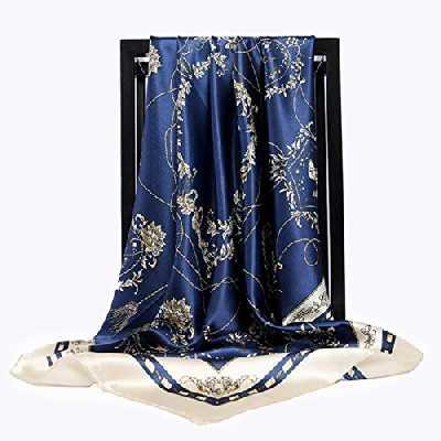 LCUK Grand Foulards Hijab pour Femmes Foulard en Satin de Soie imprimé de Mode Femme 90 cm x 90 cm Marque de Luxe châles carrés Foulards pour Dames