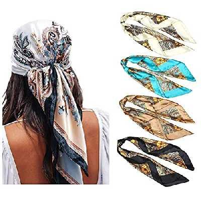 WELROG Echarpes Carrées Satin 90x90cm pour Femme 4 PCs Femmes Soyeux comme Écharpe de tête Bandanas Écharpe de cheveux Écharpe Wraps de sommeil (Set #3)