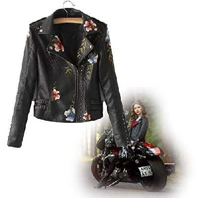 Femme Manteau en Cuir Beign Veste Fleurs Brodées Clouté Casual Manteau Biker Moto Coupe Slim Manches Longues,Veste Blazer De Moto en Simili Cuir Elégant Rivet Blousons avec Broderie XL Noir