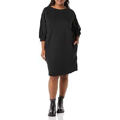 Amazon Essentials Robe à col Rond et Manches Blouses en Tissu éponge Femme, Noir, Taille 1X