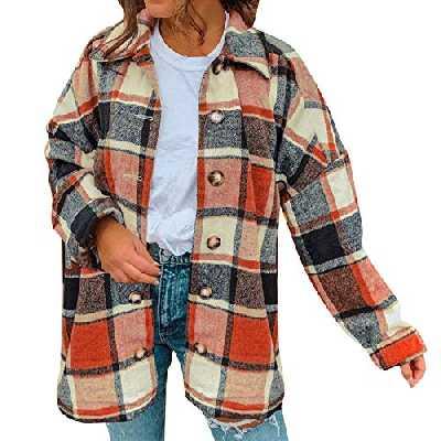 Petalum Manteau Chemise Femme Veste à Carreaux Classique Manche Longue Fermeture Bouton Surchemise Épaule Tombant Grande Taille pour Printemps Automne