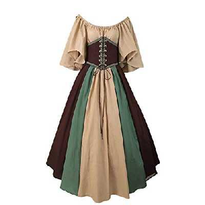 Lemoner Jupe pour Femme élégante Robe Pied-de-Poule Vintage Robes à Manches Courtes avec Coutures en Tissu (S-2XL)