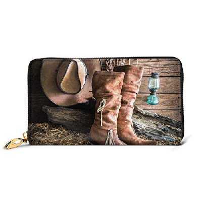 Portefeuille en cuir imprimé bottes de cowgirl avec fermeture éclair pour femme