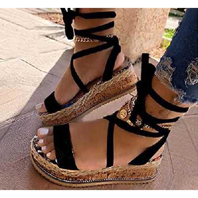 DZQQ Nouveau été Femmes Sandales compensées Impression Ethnique Mode Serpent Chaussures décontractées Femme à Lacets Femmes Chaussures Plage Grande Taille Femme Sandales