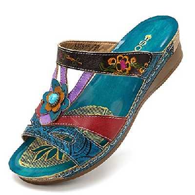 Cuidado Sandale Femme Talon Compensé Mules Femme Compensees Chaussure DéContractéE Femme Claquette Femme Ete Fleurs DéCoratives Jardin Vacances