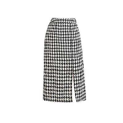 Valin Jupe Droite Mi-Longue Taille Haut Femme Jupe Slim Pied de Poule Jupe Noir&Blanc Taille élastiquée,M,SS2119