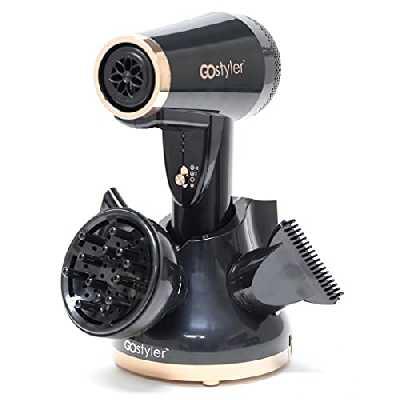 Sèche-Cheveux sans fil avec accessoires - TELESHOPPING - GO STYLER DELUXE™ - Rechargeable - Noir - Adulte - Pratique et portable