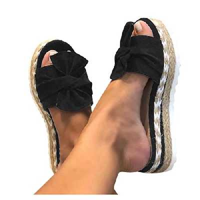 AZEWO Sandales Compensees Femme,Sandale Plateforme Ete Espadrille Femmes,Bout Ouvert Espadrille Femmes Compensees Plate Mules Style Espadrilles à Bohême à Bout Ouvert Confort Nu-Pieds Mode